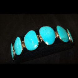 Turquoise 6 stone Sterling Silver Bracelet