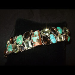 Turquoise Multi Stone Sterling Silver Bracelet