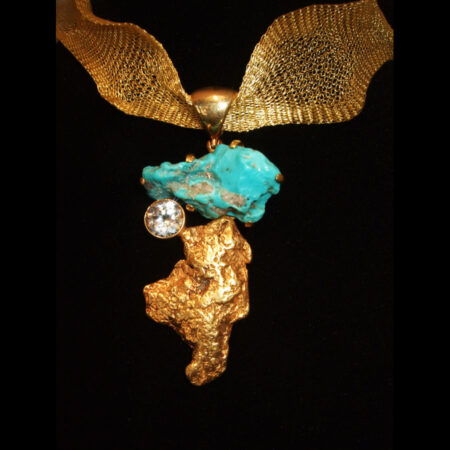 Turquoise Nugget, Copper Nugget with 18K gold sheeting Sterling Silver Pendant