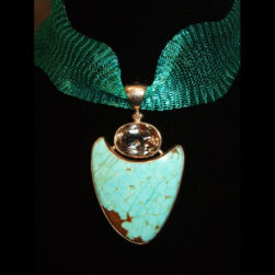 Turquoise, Champagne Topaz Sterling Silver Pendant